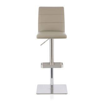 An Image of Aerith Bar Stool In Taupe Faux Leather And Stainless Steel Base