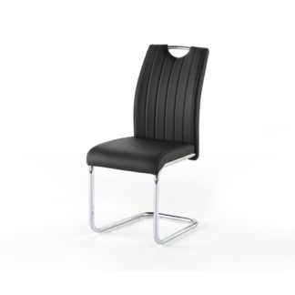 An Image of Riva1 Dining Chair In Black Faux Leather With Handle Hole