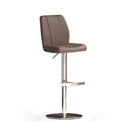 An Image of Naomi Cappuccino PU Leather Bar Stool With Stainless Steel Base
