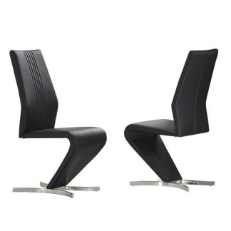 An Image of Gia Dining Chairs In Black Faux Leather In A Pair