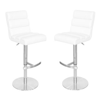 An Image of Bianca White Leather Bar Stool In Pair