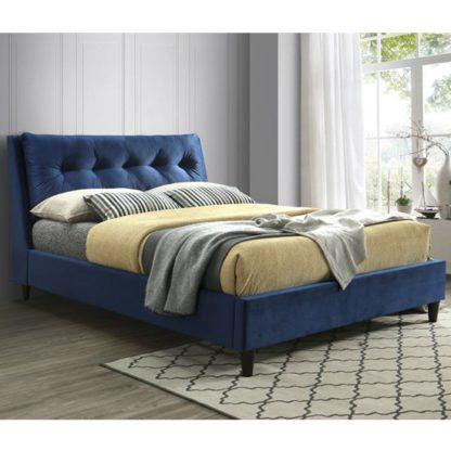 An Image of Megan Velvet Upholstered King Size Bed In Blue