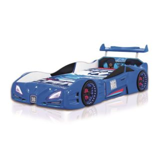 An Image of Buggati Veron Childrens Car Bed In Blue With Spoiler And LED