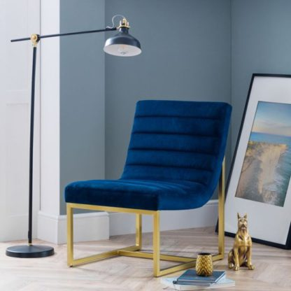 An Image of Bellagio Velvet Bedroom Chair In Blue And Gold