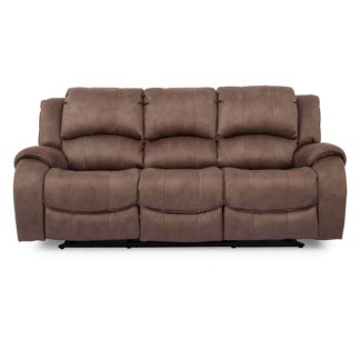 An Image of Ryan Recliner Textured Fabric Three Seater Sofa In Biscuit