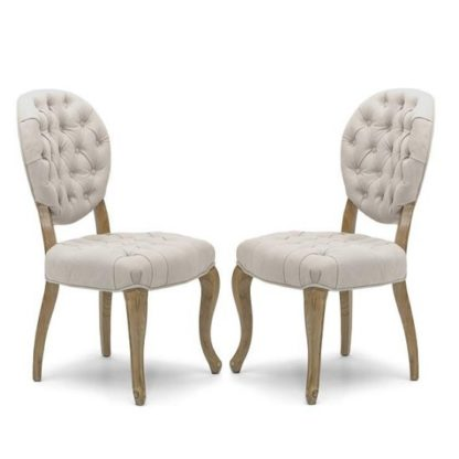 An Image of Elsa Fabric Dining Chair In Natural With Walnut Legs In A Pair