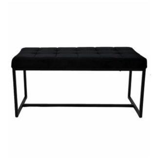 An Image of Croatia Dining Bench In Black Plush Velvet With Chrome Legs