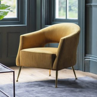 An Image of Gerania Velvel Arm Chair In Gold Finish With Metal Legs