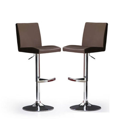 An Image of Lopes Bar Stools In Brown Faux Leather in A Pair