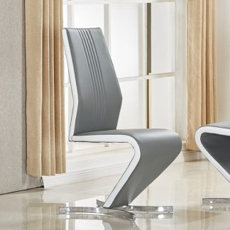 An Image of Gia Dining Chair In Grey And White Faux Leather With Chrome Base