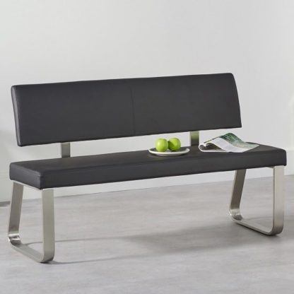 An Image of Celina Medium Dining Bench In Black Faux Leather