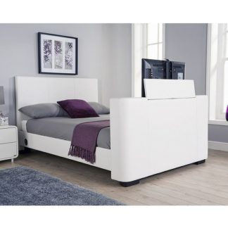 An Image of Knightsbridge Modern Double TV Bed In White Faux Leather