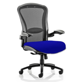 An Image of Houston Heavy Black Back Office Chair With Stevia Blue Seat