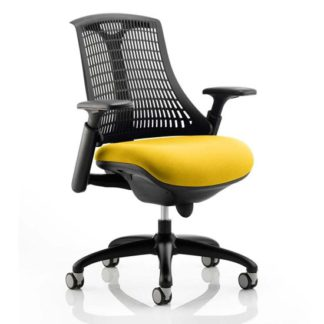 An Image of Flex Task Black Back Office Chair With Senna Yellow Seat