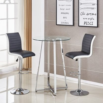 An Image of Poseur Glass Bar Table With 2 Ritz Black And White Bar Stools