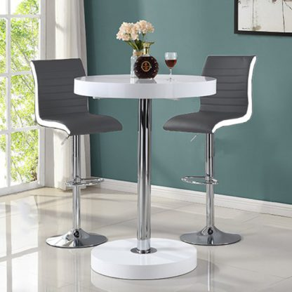 An Image of Havana Bar Table In White With 2 Ritz Grey And White Bar Stools