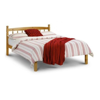 An Image of Emmi Wooden Double Size Bed In Oak Sheen Lacquer Finish