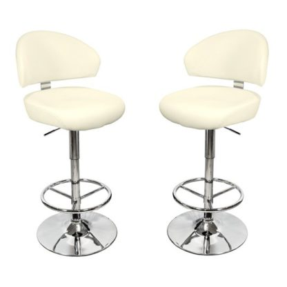 An Image of Casino Cream Leather Bar Stool In Pair
