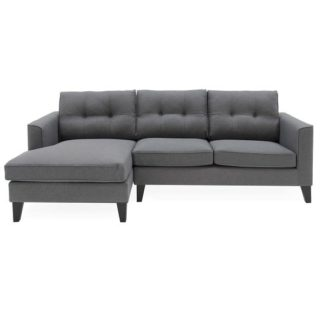 An Image of Rawls Corner Fabric Left Hand Side Sofa In Charcoal Finish