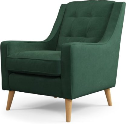 An Image of Content by Terence Conran Tobias, Armchair, Plush Hunter Green Velvet, Light Wood Leg