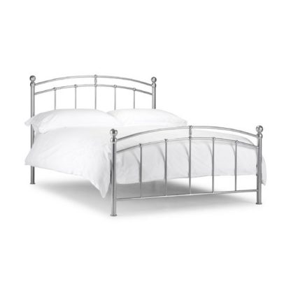 An Image of Chanties Metal Double Bed In Bright Aluminium Finish
