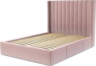 An Image of Custom MADE Cory Double size Bed with Drawers, Heather Pink Velvet