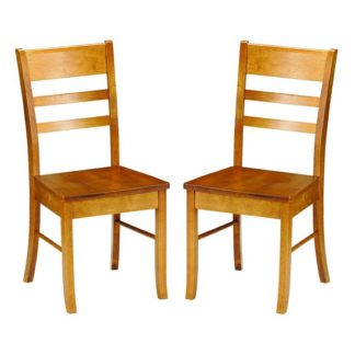 An Image of Elbeni Wooden Dining Chair In Honey Pine Lacquer In A Pair