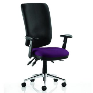 An Image of Chiro High Black Back Office Chair In Tansy Purple With Arms