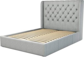 An Image of Custom MADE Romare King size Bed with Drawers, Wolf Grey Wool