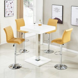 An Image of Topaz Bar Table In White High Gloss And 4 Ripple Curry Stools