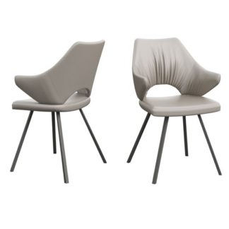 An Image of Zola Taupe Faux Leather Dining Chairs In Pair
