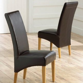 An Image of Choe Brown Bonded Leather Dining Chairs With Oak Legs In A Pair