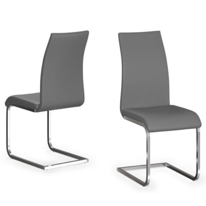 An Image of Paolo Grey Faux Leather Dining Chair In A Pair
