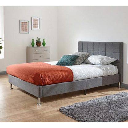An Image of Fresno Fabric Double Bed In Grey