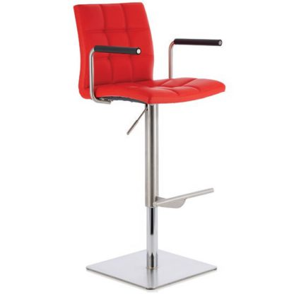 An Image of Deloris Bar Stool In Red Faux Leather And Stainless Steel Base
