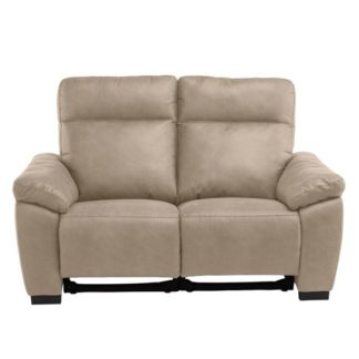 An Image of Farrow Fabric Electric Recliner 2 Seater Sofa In Natural