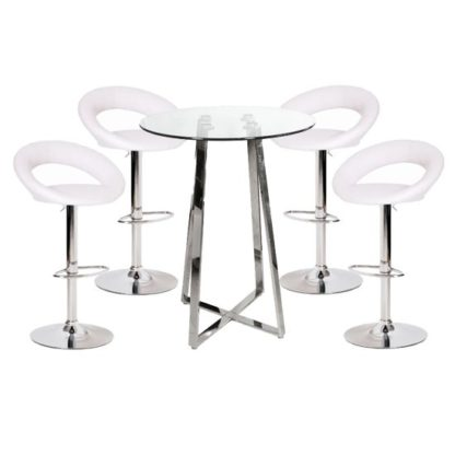 An Image of Poseur Glass Top Bar Table with 4 Leoni White Bar Stools
