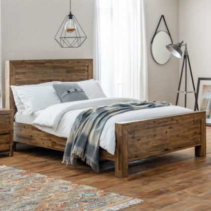 An Image of Hoxton Wooden King Size Bed In Rustic Oak