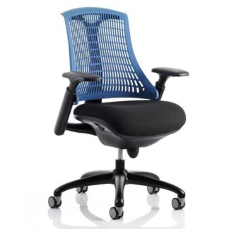 An Image of Flex Task Office Chair In Black Frame With Blue Back