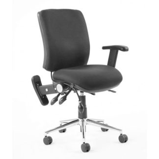 An Image of Chiro Fabric Medium Back Office Chair In Black With Folding Arms