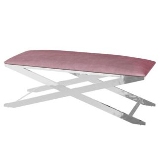 An Image of Vertue Velvet Fabric Upholstered Dining Bench In Pink