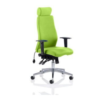 An Image of Penza Office Chair In Myrrh Green With Adjustable Arms