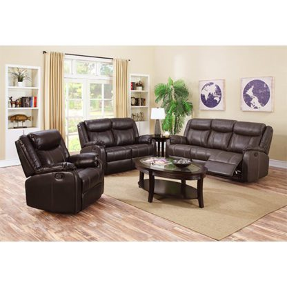 An Image of Leeds LeatherLux And PU Recliner Sofa Suite In Espresso