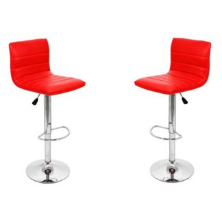 An Image of Ribble Red Leather Bar Stool In Pair
