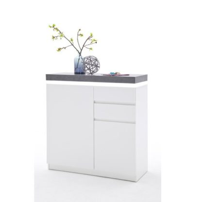 An Image of Mentis Shoe Storage Cabinet In Matt White And Concrete With LED