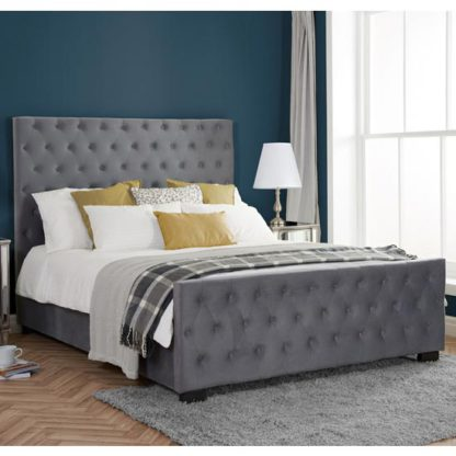 An Image of Marquis Fabric King Size Bed In Grey Velvet