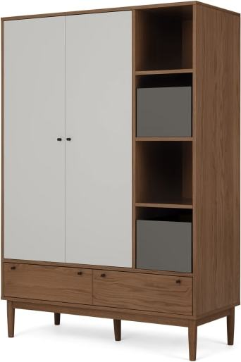 An Image of Campton Triple Wardrobe, Dark Stain Oak & Grey