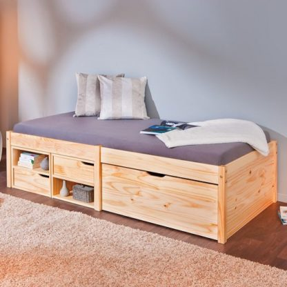 An Image of Camden Storage Bed In Natural With 2 Drawers And Pullout Cabinet