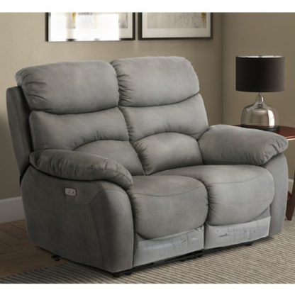 An Image of Layla Fabric Electric Recliner 2 Seater Sofa In Grey