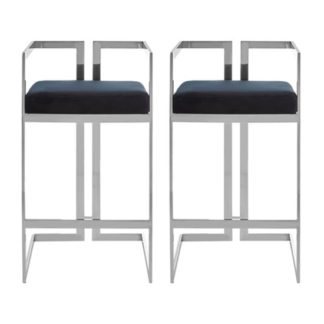 An Image of Azaltro Black Velvet Bar Stools With Silver Metalframe In Pair